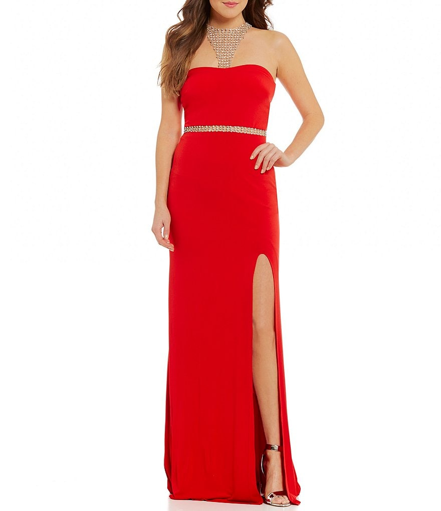 Terani Couture Prom Beaded Halter Neck Long Dress