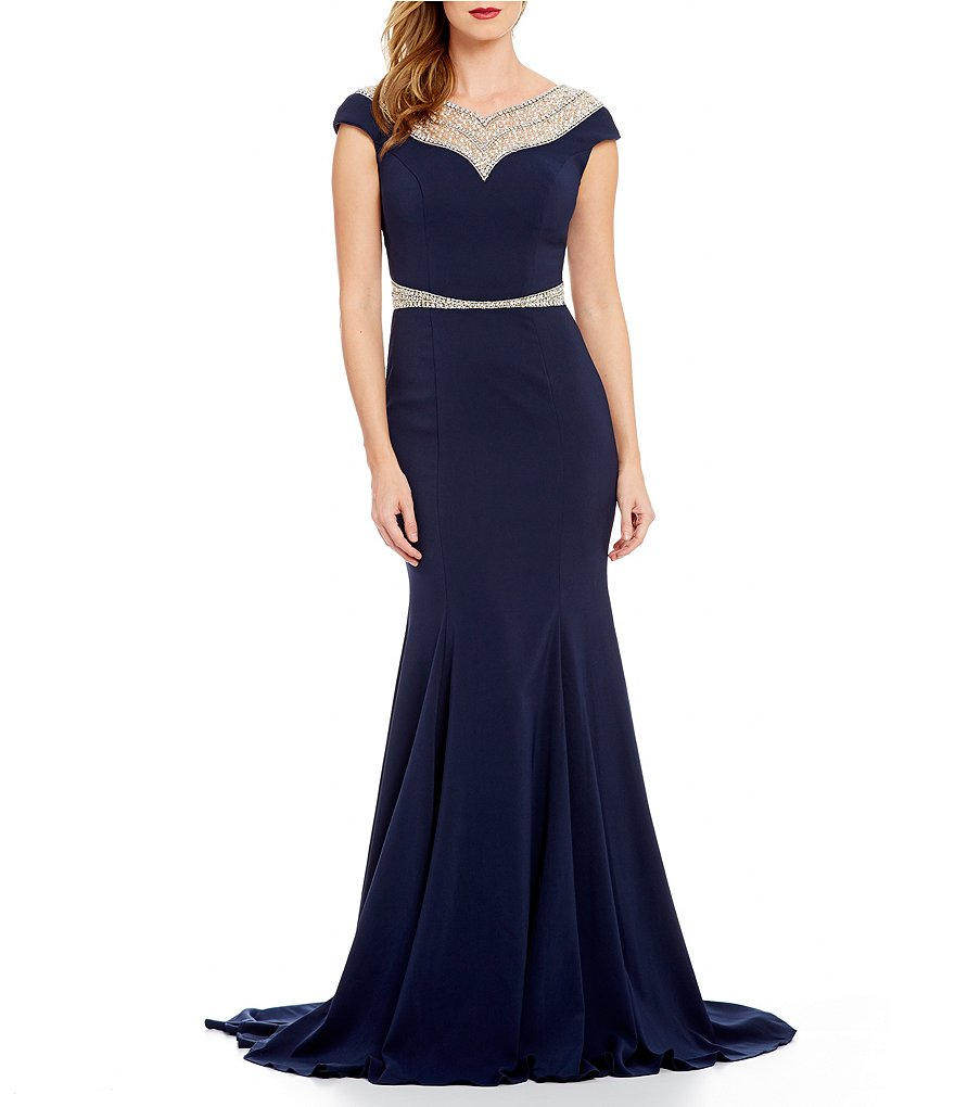 Terani Couture Round Neck Cap Sleeve Beaded Yoke Gown