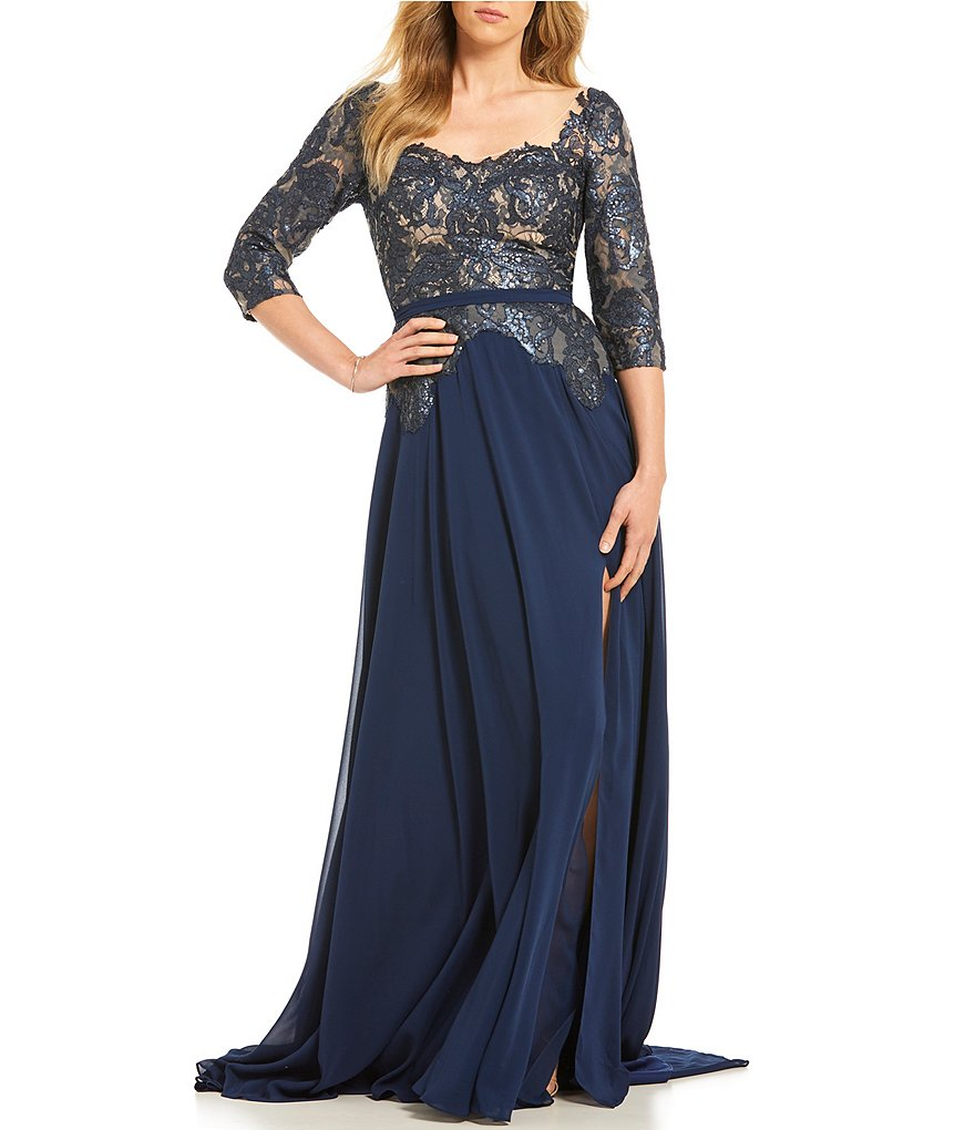 Terani Couture Sequin Lace Bodice Gown