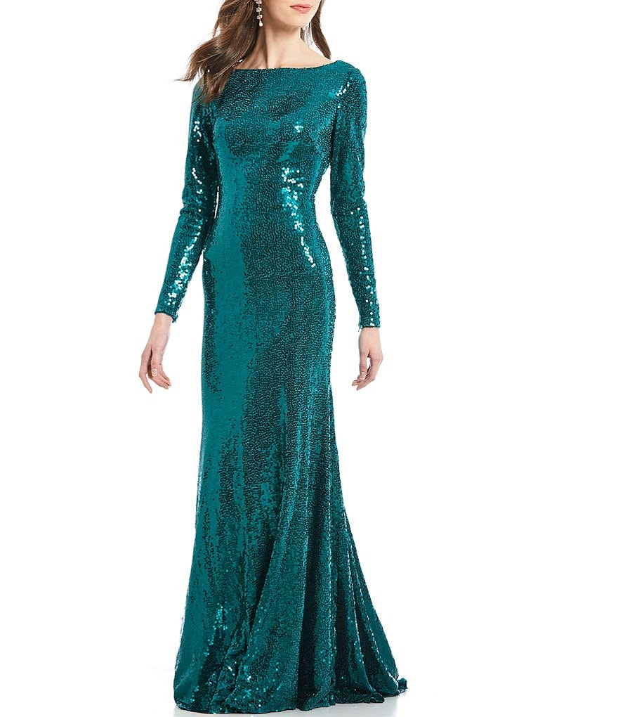 Terani Couture Sequin Scoop Back Gown