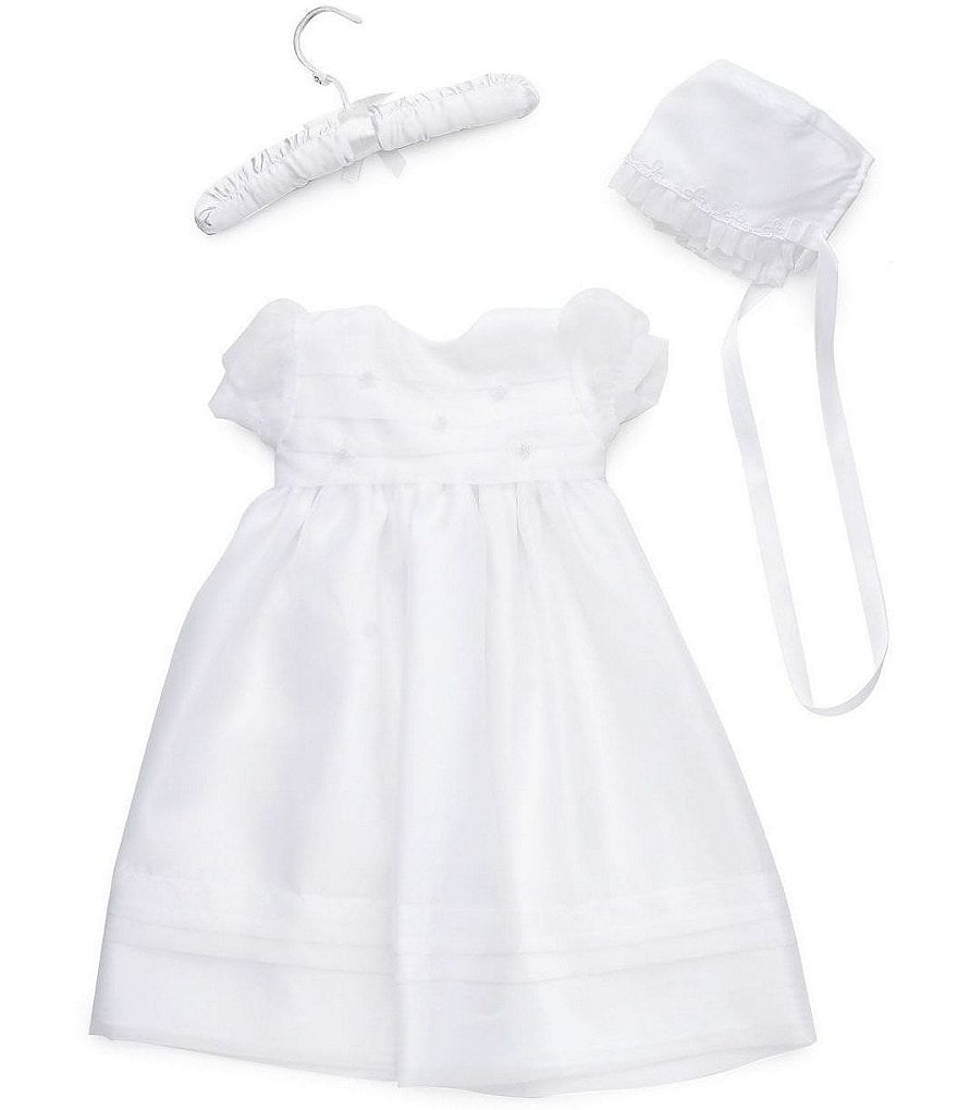 The Children's Hour Newborn Organza Tucked-Bodice Christening Gown