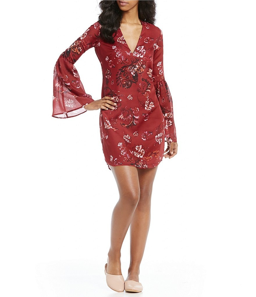 The Jetset Diaries Autumn Printed Bell Sleeve Tunic Dress