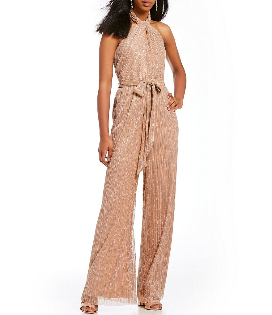 The Jetset Diaries Avalon Twist Halter Neck Shimmer Jumpsuit