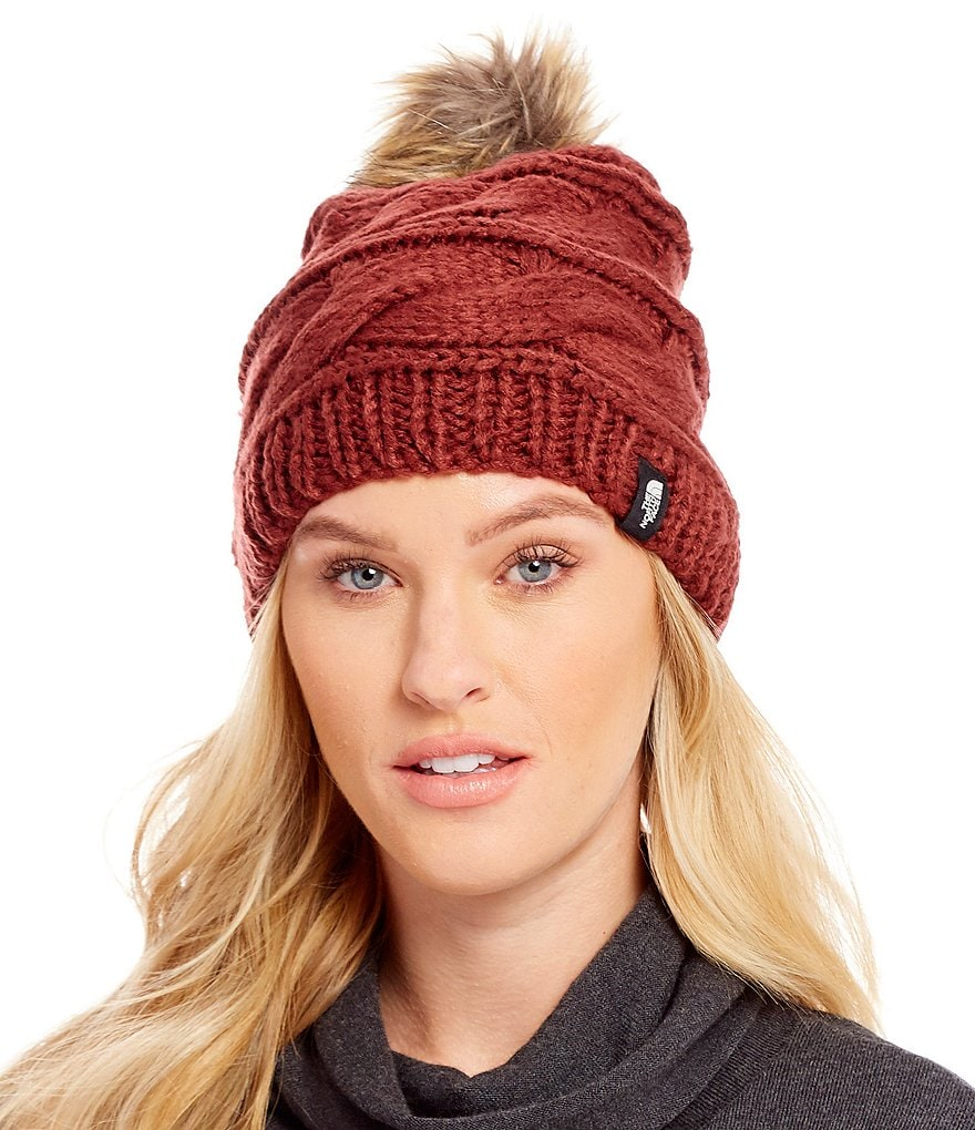 The North Face Cable-Knit Beanie with Faux-Fur Pom