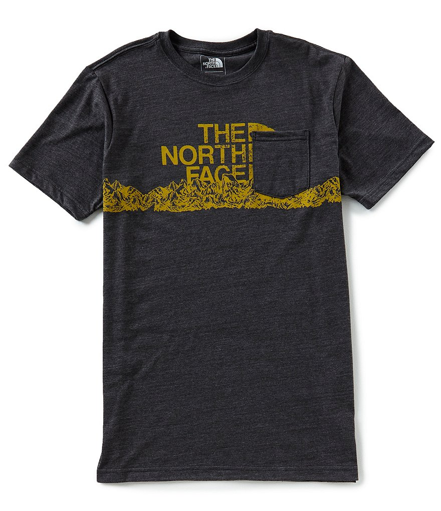 The North Face Slim Short-Sleeve Mountain Logo Tri-Blend Pocket Tee