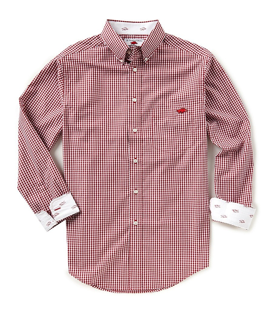 The Razorback Collection Line Gingham University of Arkansas Long-Sleeve Woven Shirt