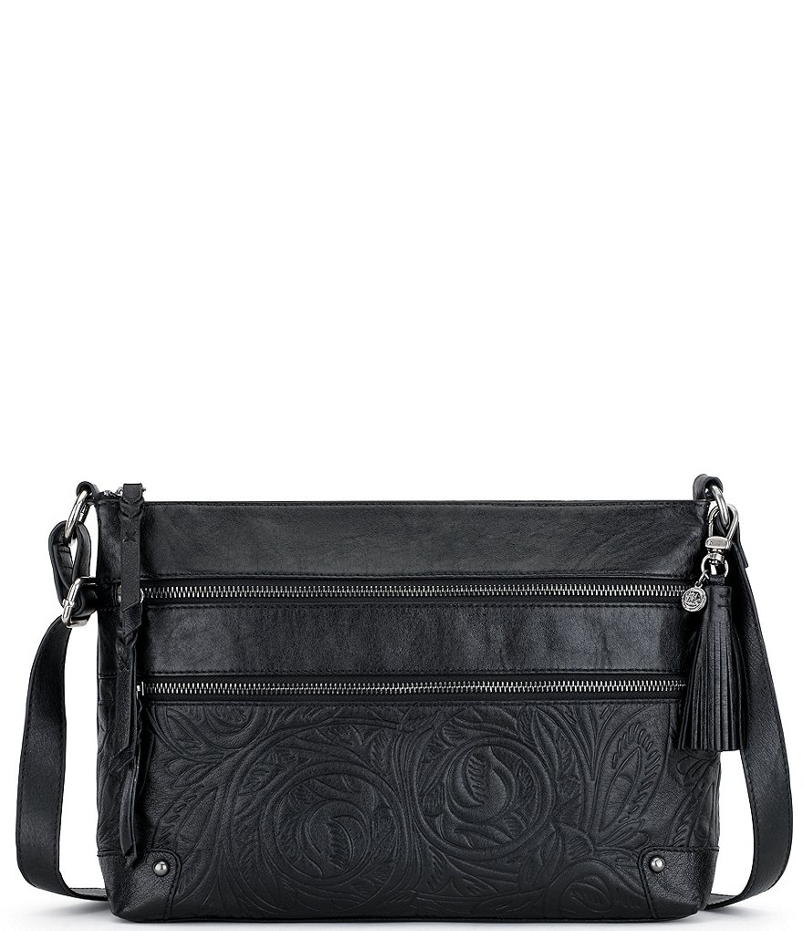 The Sak Lanie Tasseled 3-Zip Embossed Cross-Body Bag