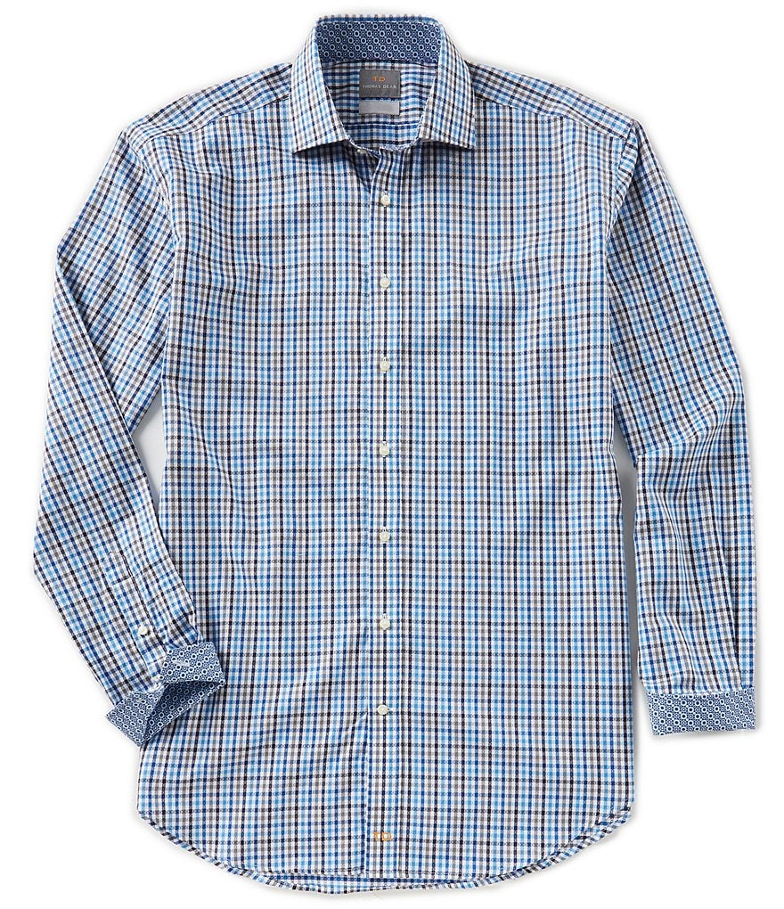 Thomas Dean Big & Tall Check Long-Sleeve Woven Shirt