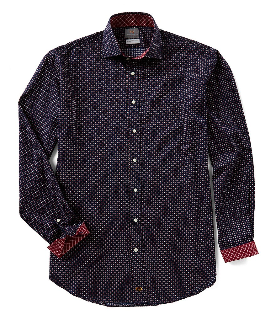 Thomas Dean Big & Tall Neat Print Long-Sleeve Woven Shirt