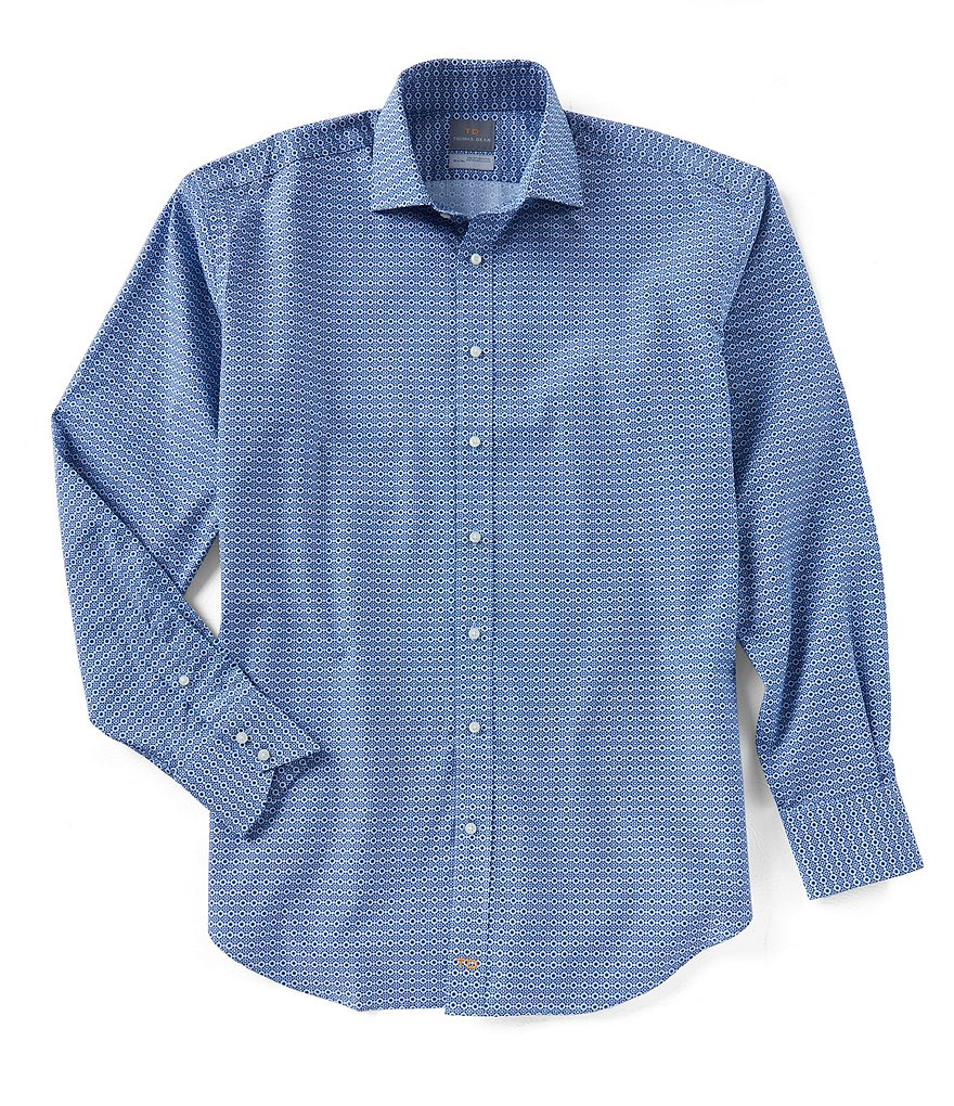 Thomas Dean Big & Tall Printed Long-Sleeve Woven Shirt