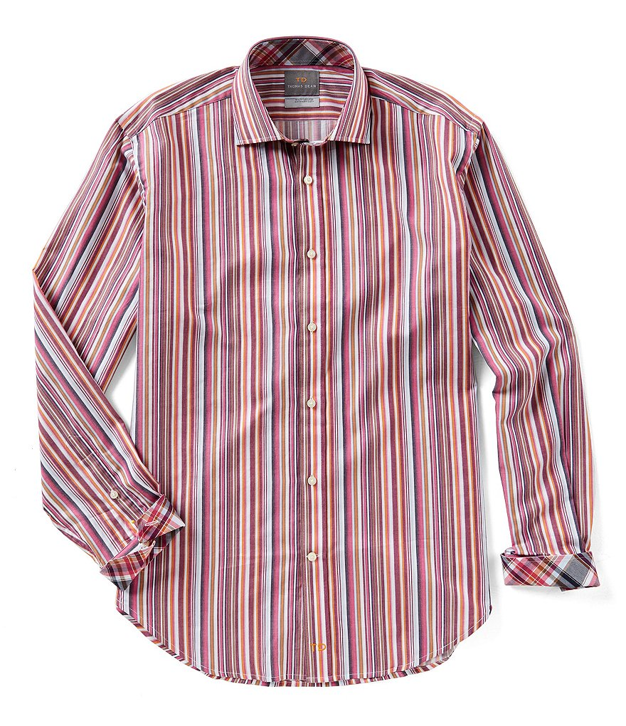 Thomas Dean Big & Tall Stripe Long-Sleeve Woven Shirt