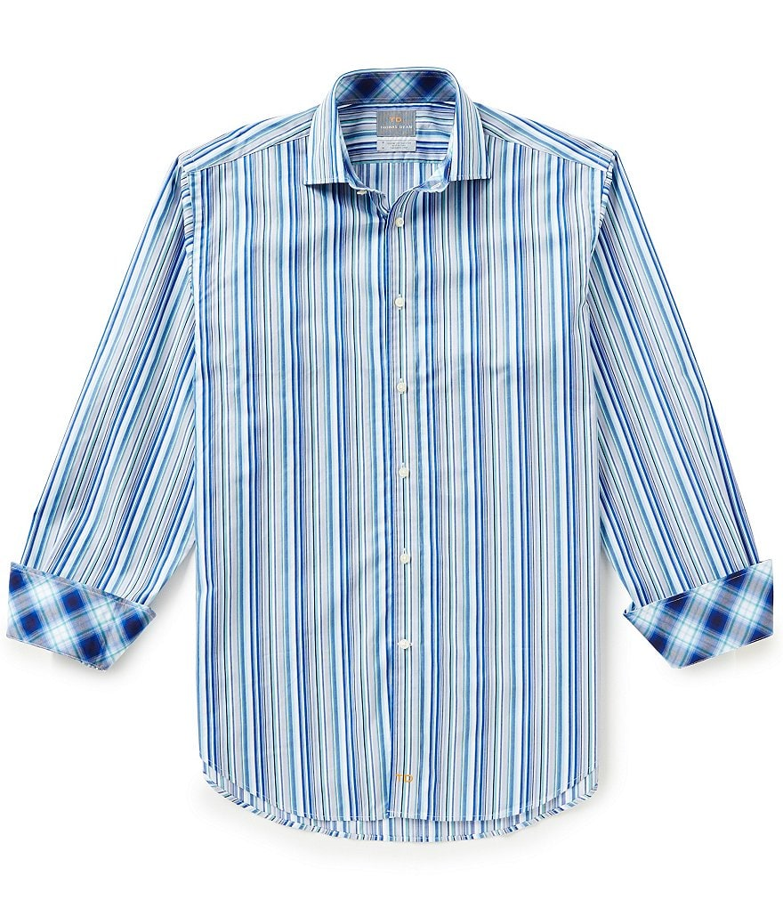 Thomas Dean Long-Sleeve Multi-Stripe Woven Shirt