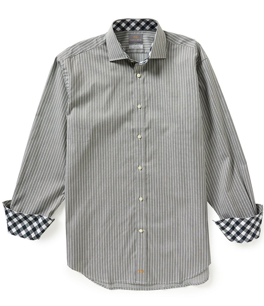 Thomas Dean Long-Sleeve Striped Woven Shirt