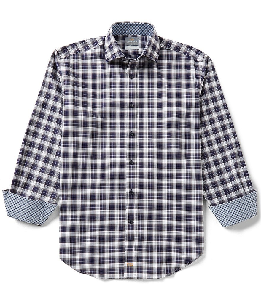 Thomas Dean Plaid Long-Sleeve Woven Shirt