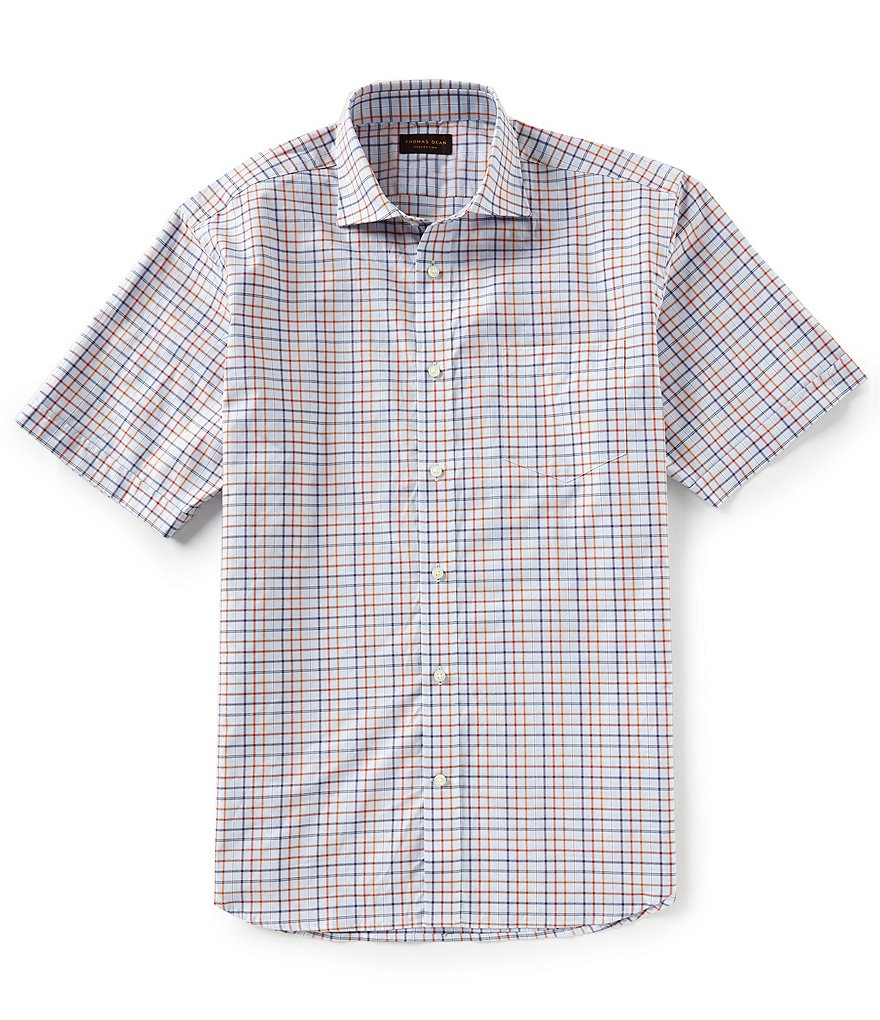 Thomas Dean Tattersall Short-Sleeve Woven Shirt