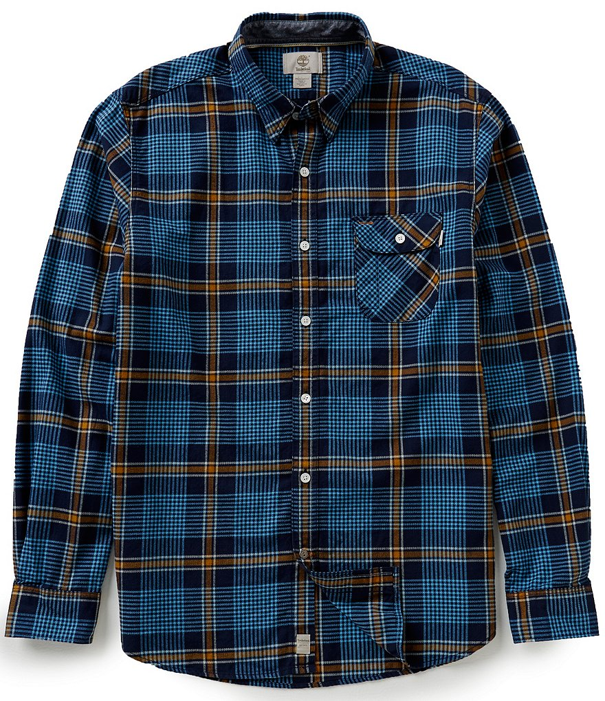 Timberland Long-Sleeve Twill Contemporary Plaid Woven Shirt
