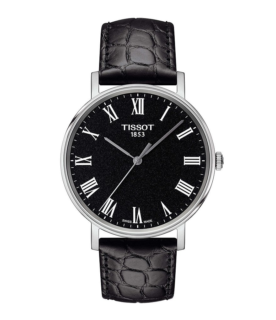 Tissot Everytime Men's Black Dial Leather Strap Watch