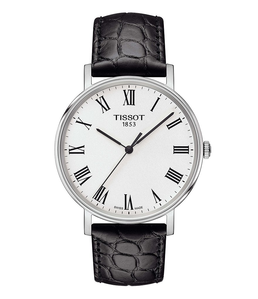 Tissot Everytime Men's Black Roman Numeral Leather Strap Watch