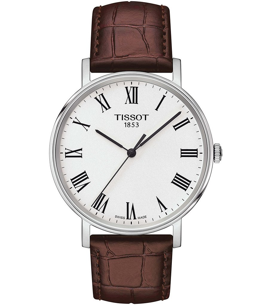 Tissot Everytime Men's Brown Leather Strap Watch