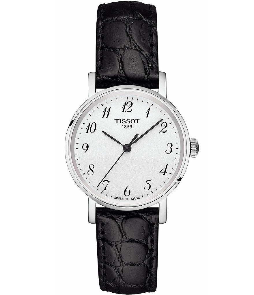 Tissot T-Classic Everytime Analog Croco Leather-Strap Watch