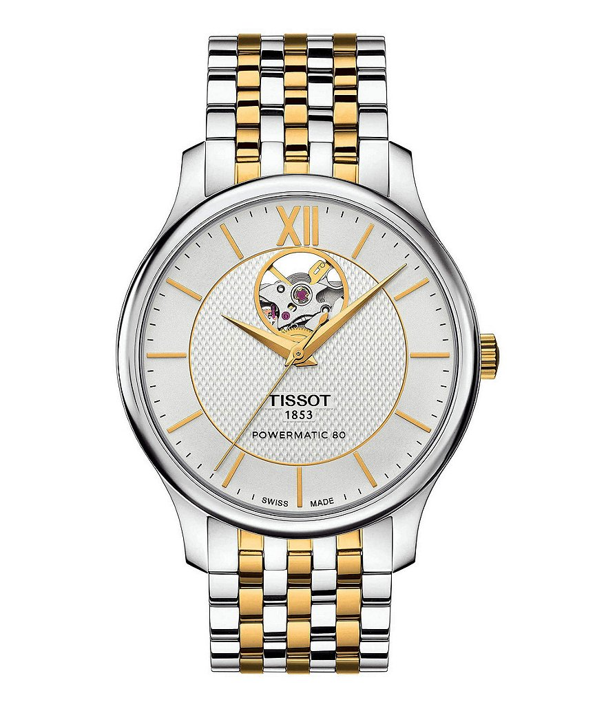 Tissot T-Classic Tradition Powermatic 80 Open Heart Bracelet Watch