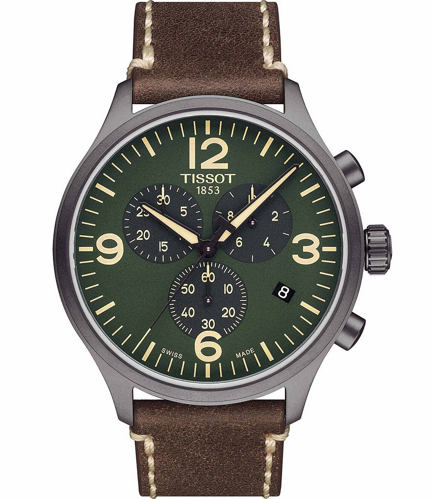 Tissot T-Sport Green Chrono XL Chronograph & Date Leather-Strap Watch