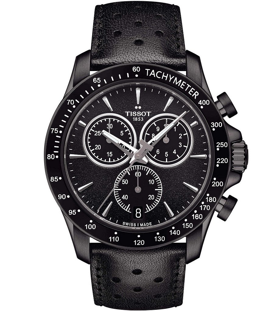 Tissot T-Sport V8 Chronograph & Date Leather-Strap Watch