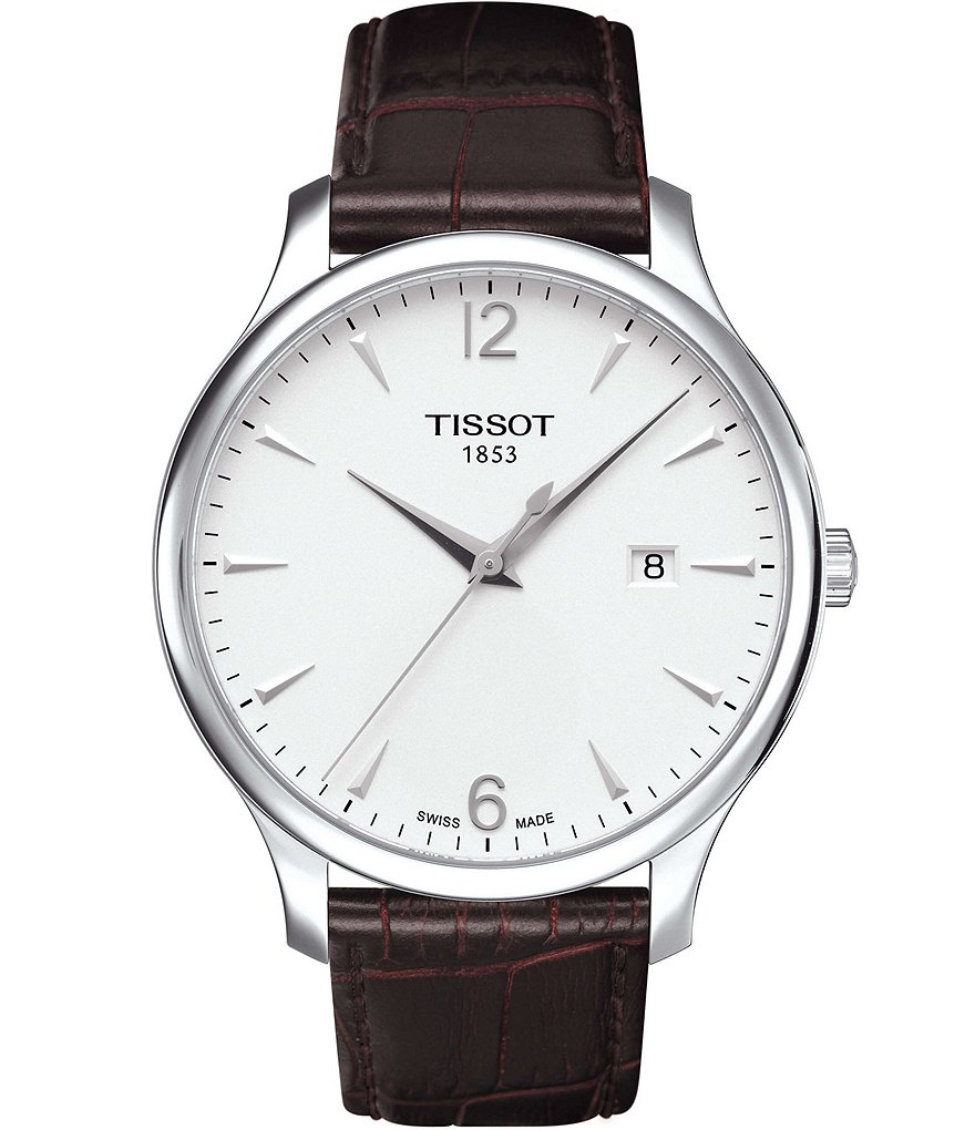 Tissot Tradition Analog & Date Leather-Strap Watch