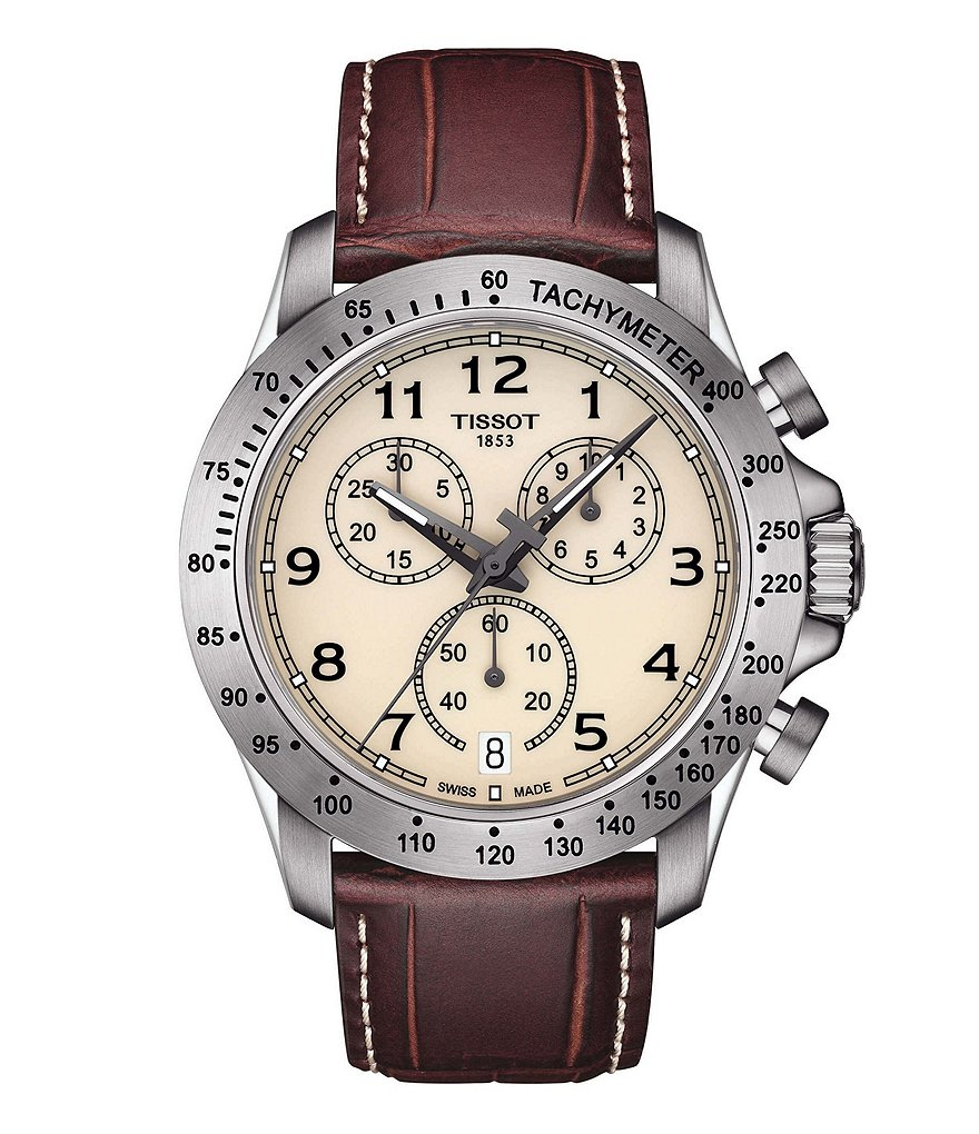 Tissot V8 Chronograph & Date Leather-Strap Watch