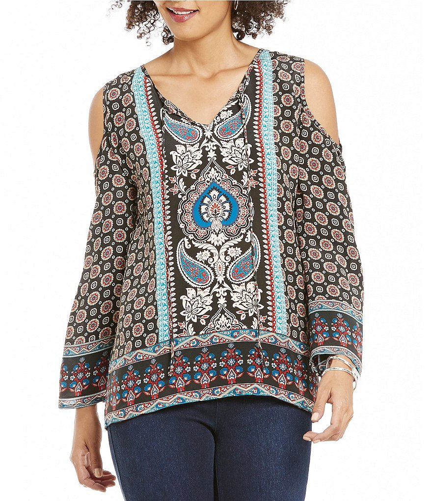Tolani Claire V-Neck Cold-Shoulder Printed Silk Tunic