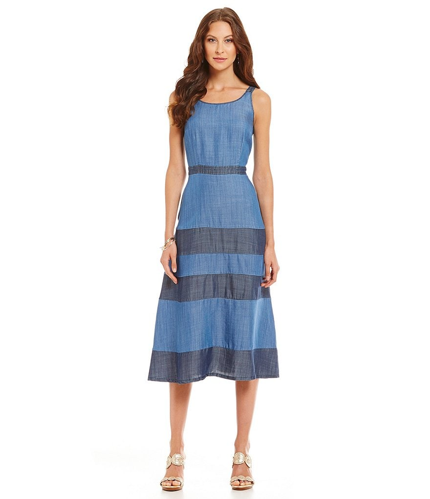 Tommy Bahama Chambray All Day Tiered Dress