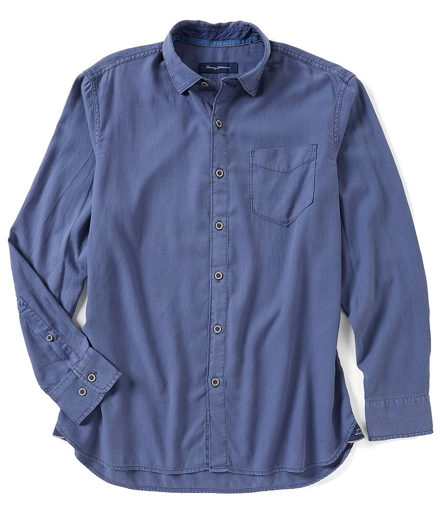 Tommy Bahama Dobby Dylan Solid Long-Sleeve Woven Shirt