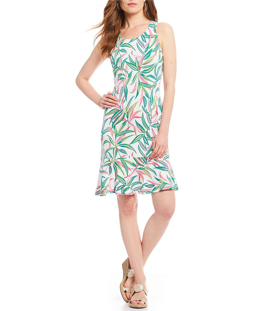 Tommy Bahama Lucky Bamboo Sleeveless Flounce Dress