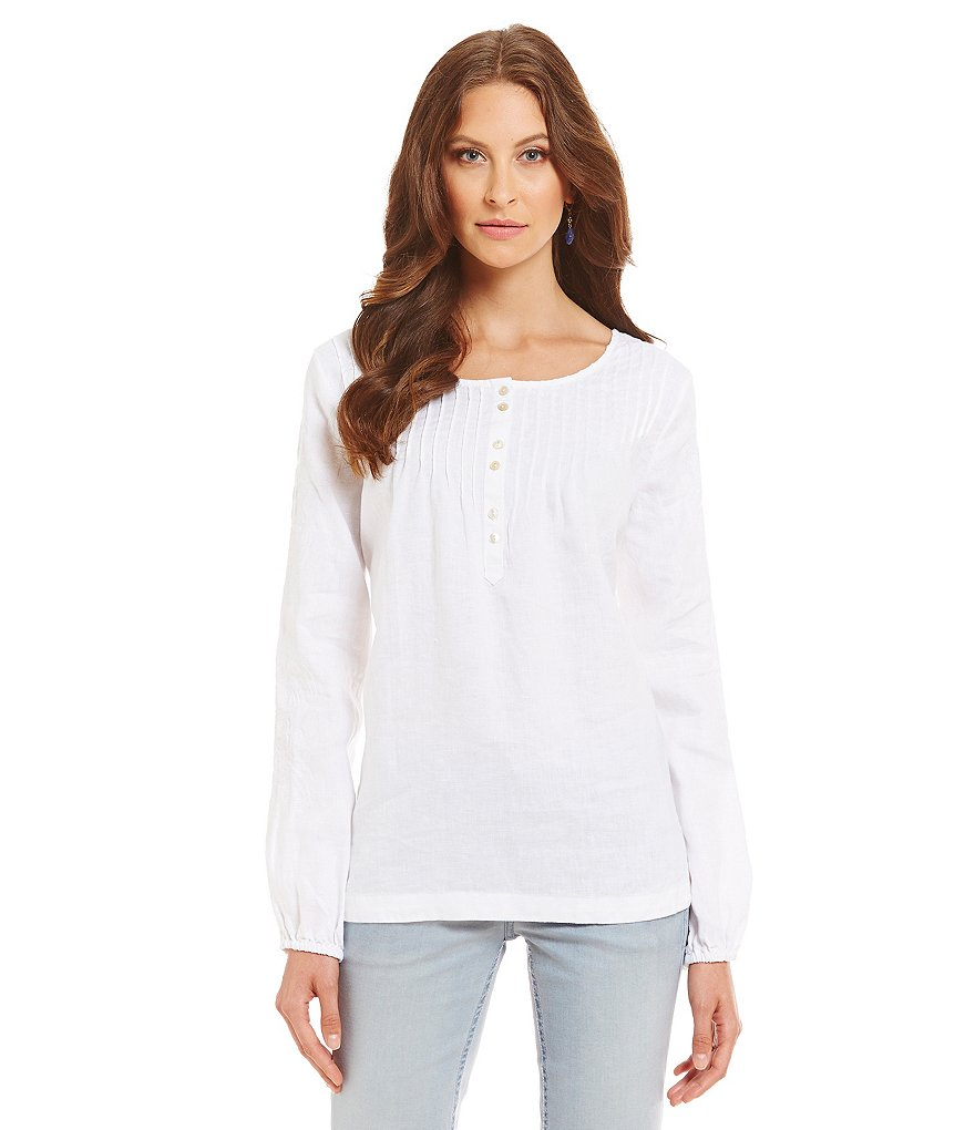 Tommy Bahama Two Palms Embroidered Long Sleeve Tunic Top