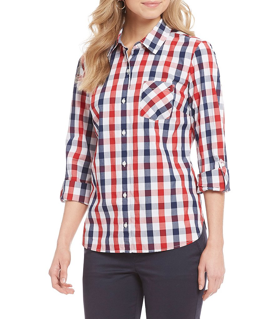 Tommy Hilfiger Gingham Print Roll Tab Sleeve Button Front Shirt