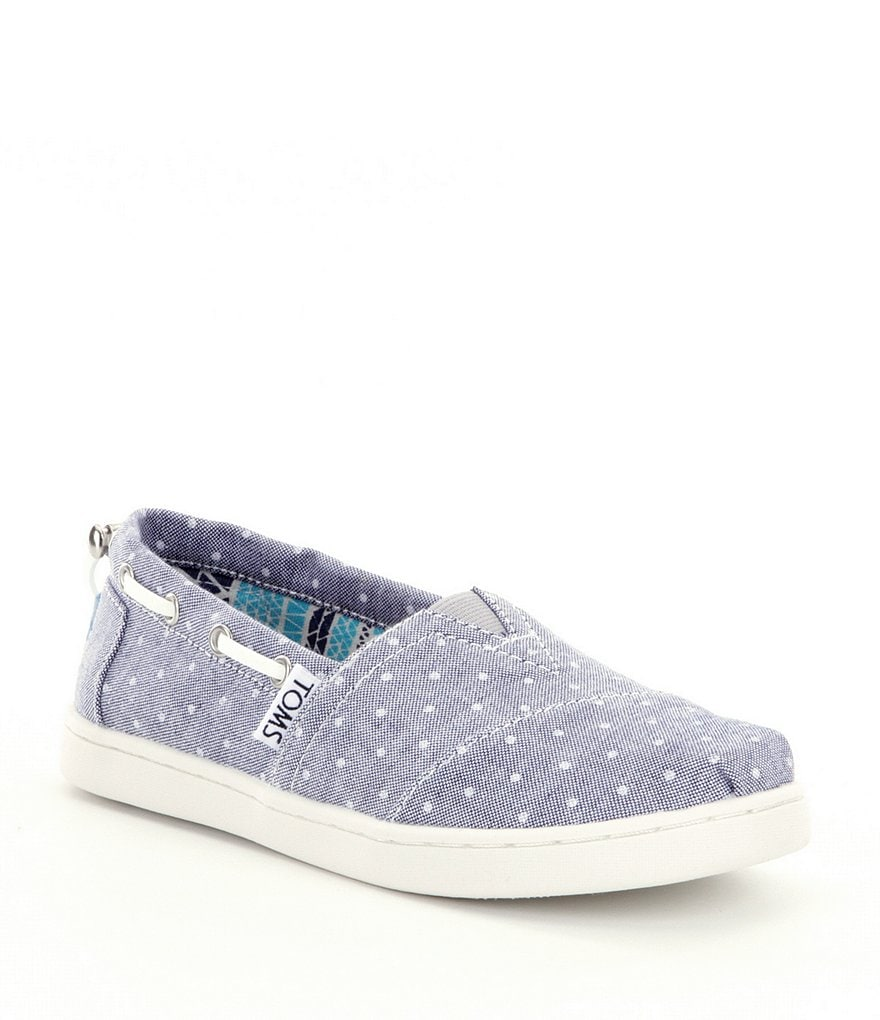 TOMS Girls´ Bimini Dot-Printed Denim Slip On Flats