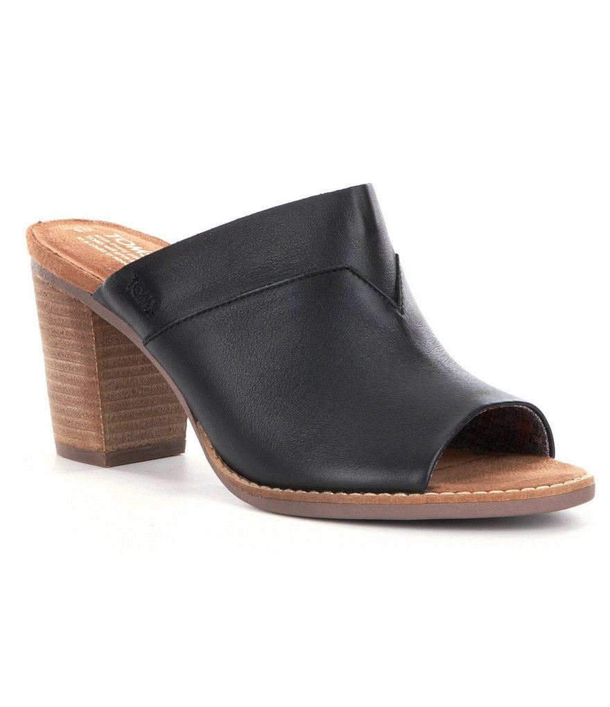 TOMS Majorca Leather Slip-On Peep Toe Block Heel Mules