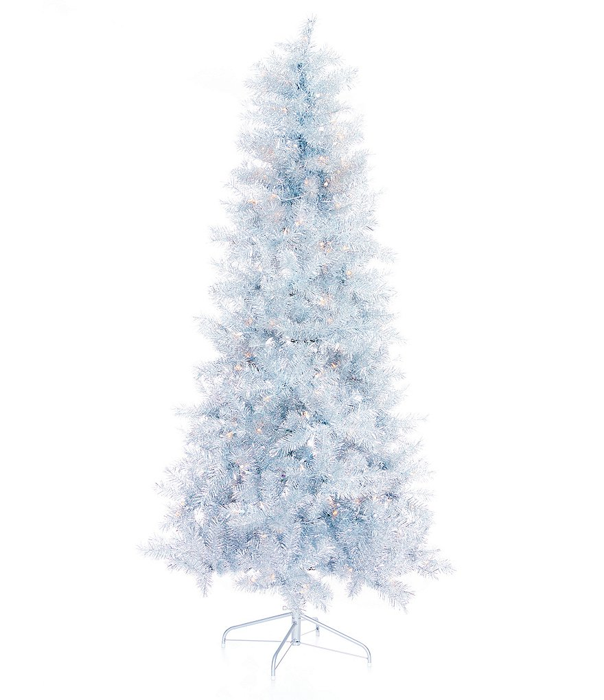 Tinsel Christmas Tree.Trimsetter 7 Ft Pre Lit Silver Tinsel Christmas Tree