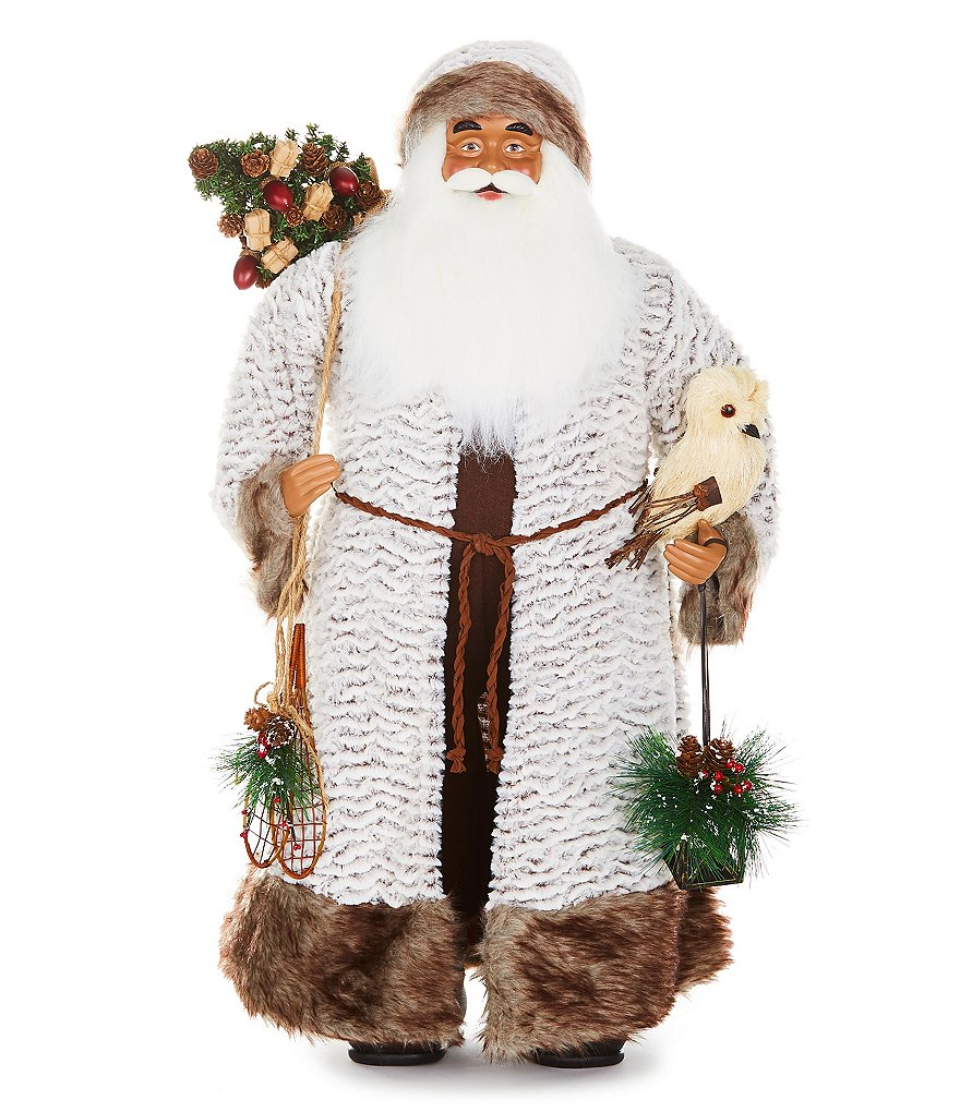Trimsetter African-American White & Grey Faux-Fur Coat 3-ft. Santa Figurine