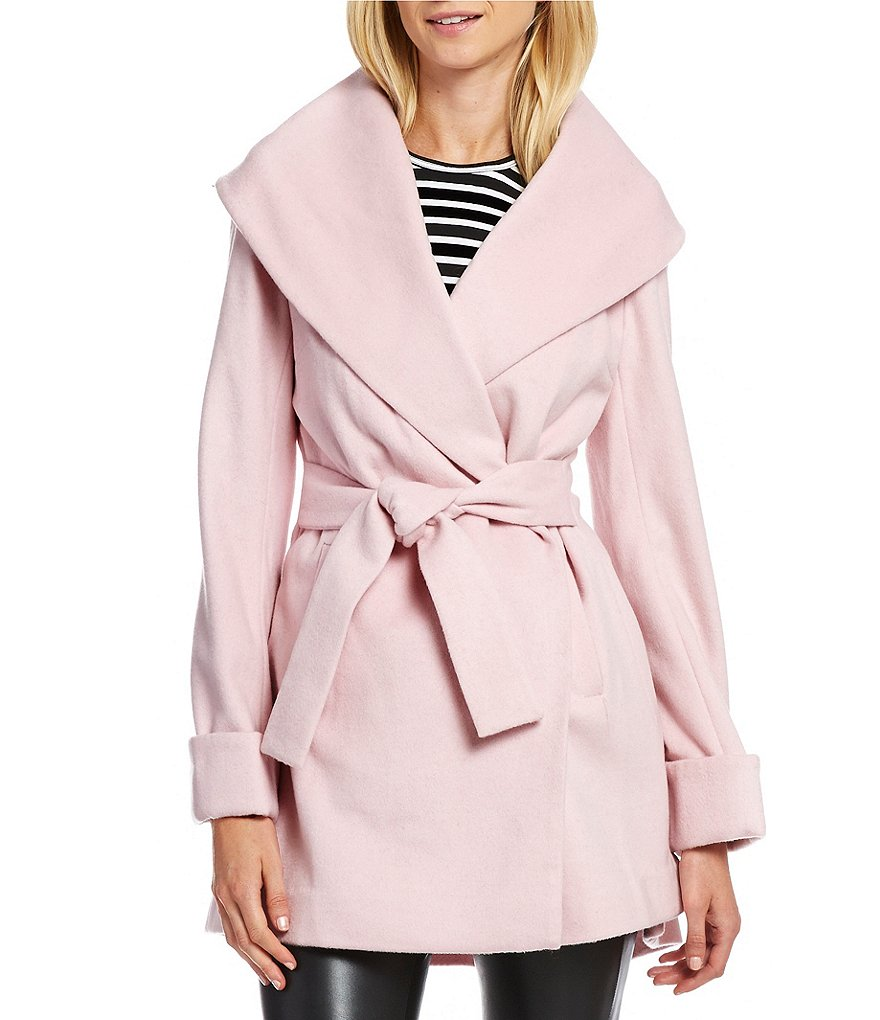 trina Trina Turk Ali Shawl Collar Wool Wrap Coat