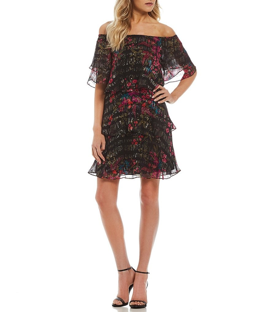 Trina Turk Cupcake Printed Off-the-Shoulder Tiered Shift Dress