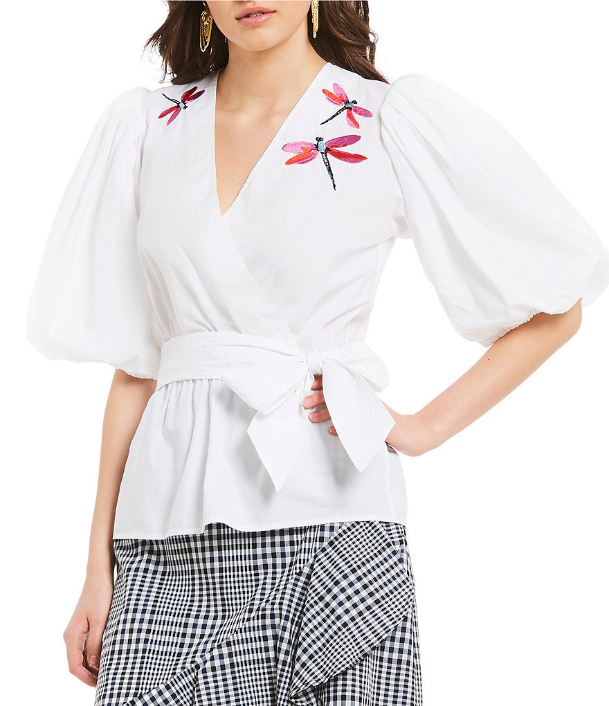 Trina Turk Fiona Embroidered Balloon Sleeve Faux Wrap Novelty Shirting Top