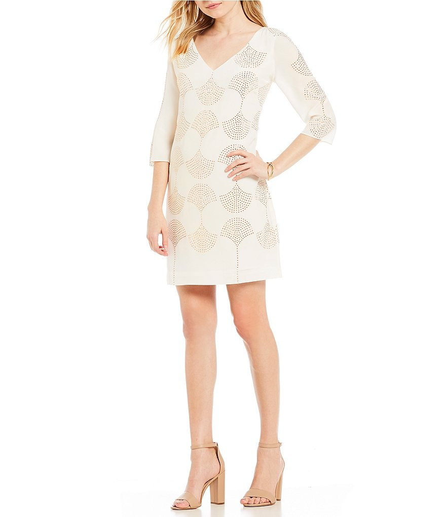 Trina Turk Glitterati Stone Embellished Patterned Shift Dress