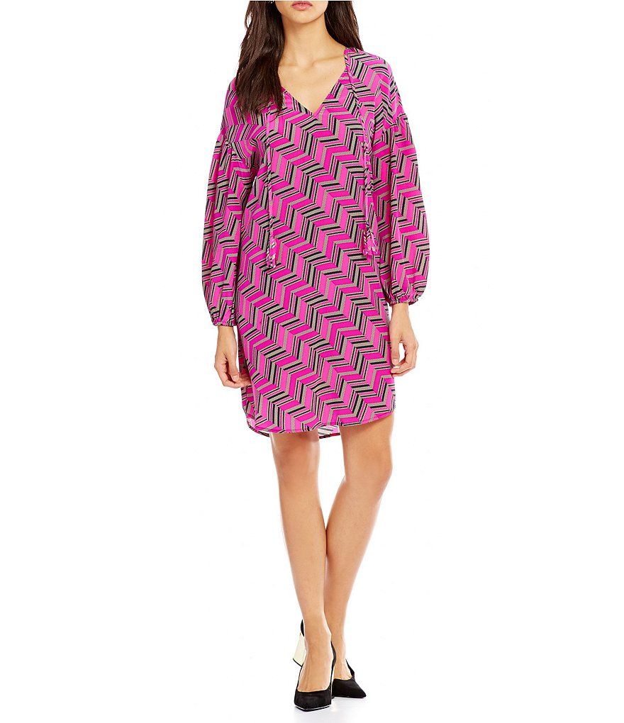 Trina Turk Granville V-Neck with Ties Printed Silk Dress