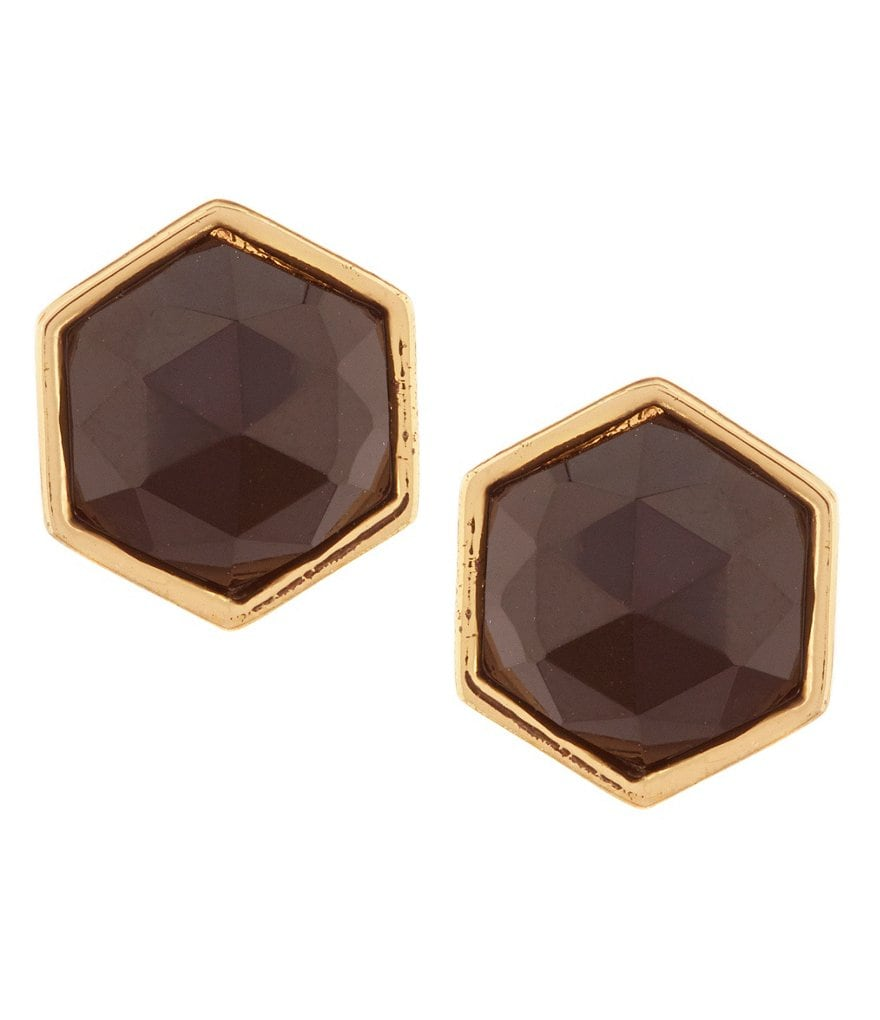 Trina Turk Hexagon Stone Stud Earrings