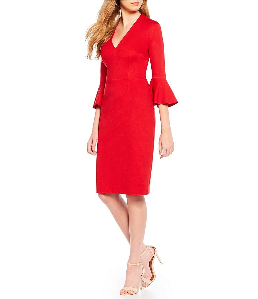 Trina Turk Lane Bell Sleeve Sheath Dress