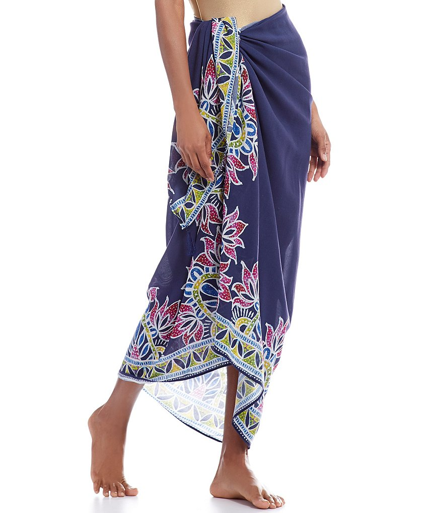 Trina Turk Lotus Batik Pareo Swimsuit Cover-Up