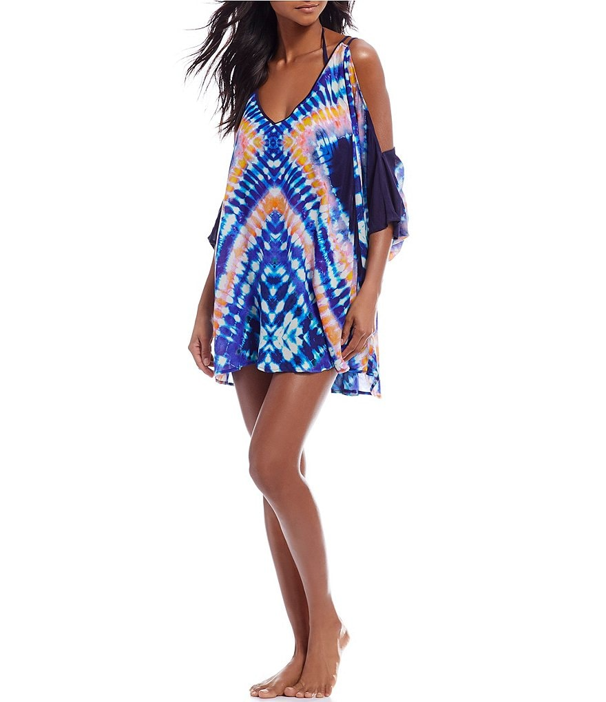 Trina Turk Moonlight Tie Dye Cold Shoulder Tunic Swimsuit Cover-Up