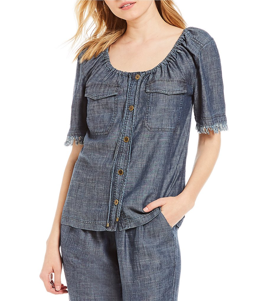 Trina Turk Rian Crosshatch Frayed Hem Sleeve Coordinating Chambray Top