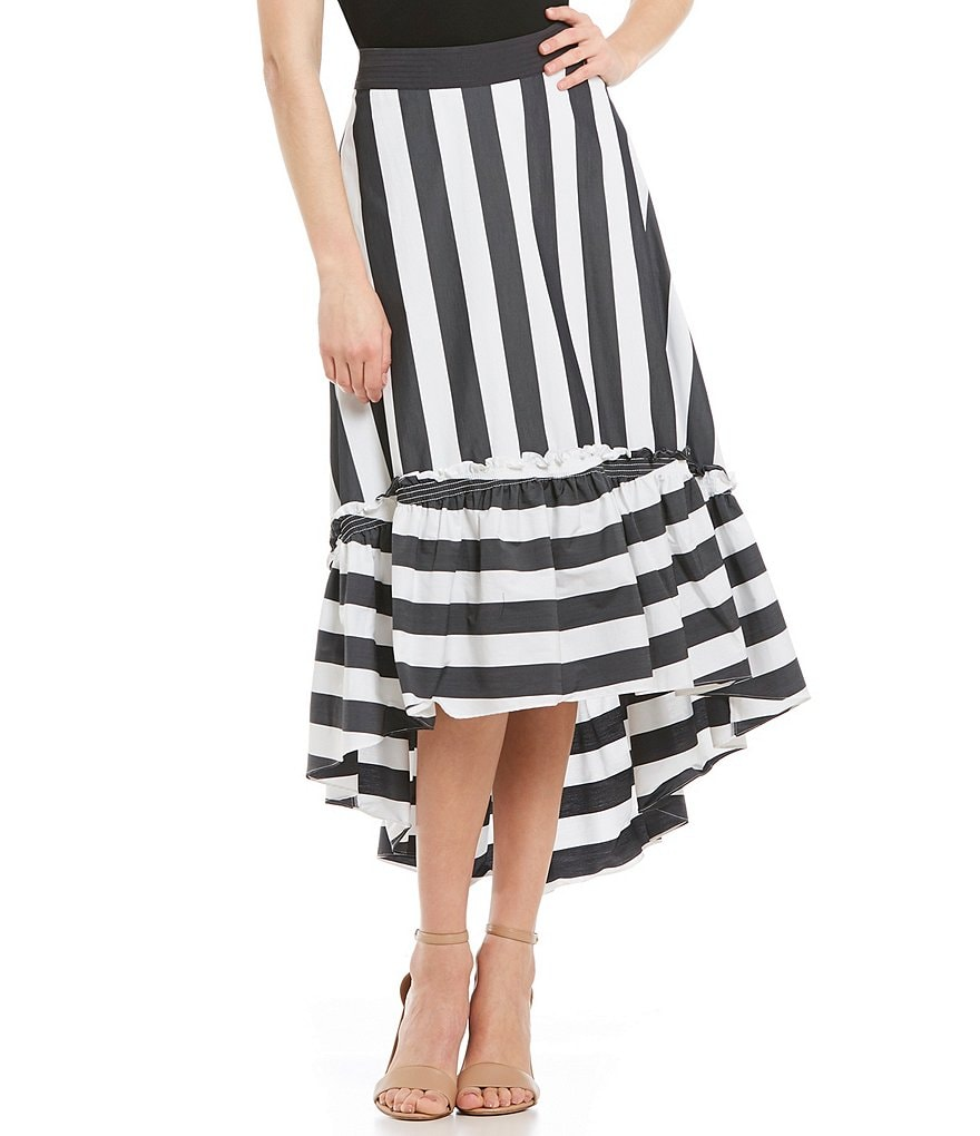 Trina Turk Rosamund Striped High-Low A-Line Ruffle Hem Midi Skirt
